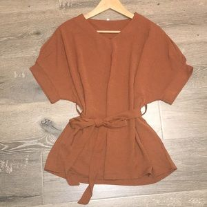 New- V Neck solid blouse with belted waist